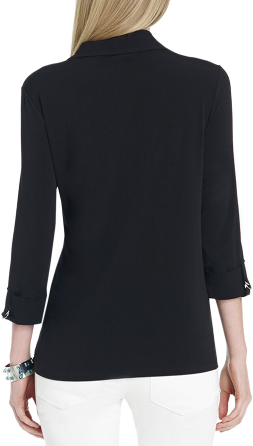 Jones New York Button Front Shirt with Roll Sleeves