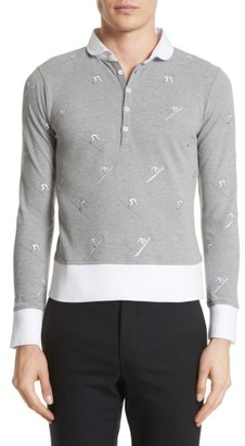 Men's Thom Browne Allover Embroidery Pique Polo $1,090 thestylecure.com