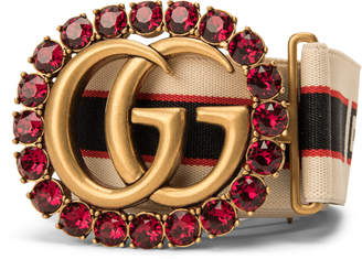 Gucci Jacquard Stripe Belt Double G and Crystals Red/White/Black