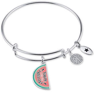 "Unwritten You're One in a Melon"" Enamel Bangle Bracelet in Stainless Steel"