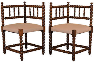 One Kings Lane Vintage 19th-C. French Corner Chairs - Set of 2 - Black Sheep Antiques