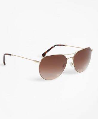 Brooks Brothers Light-Gold Navigator Sunglasses