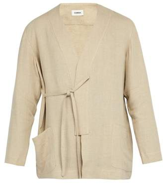BEIGE Commas - Tie Side Linen Robe Shirt - Mens