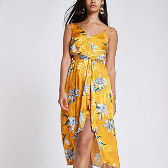 River Island Yellow floral print tie waist midi dress