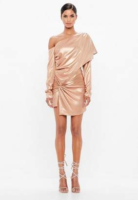 Missguided Pink One Shoulder Metallic Dress
