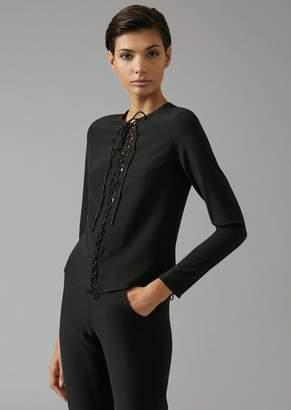 Giorgio Armani Pure Silk Blouse With Satin Laces Down The Centre