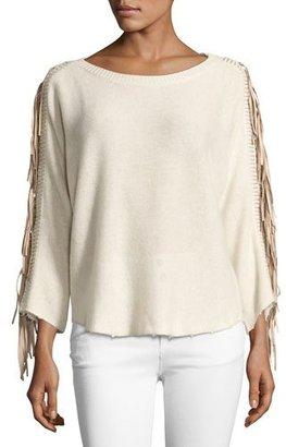 Zadig & Voltaire Banko Fringe Cashmere Sweater, Ecru $548 thestylecure.com