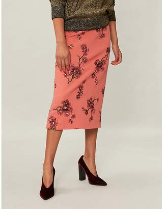 Erdem Maira floral-embroidered crepe midi skirt