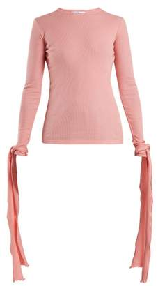 J.W.Anderson Cuff Tie Ribbed Jersey Cotton Top - Womens - Pink