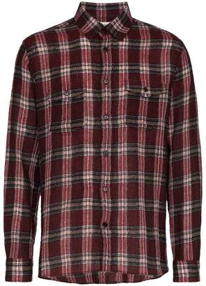 Saint Laurent check print shrunken wool blend shirt