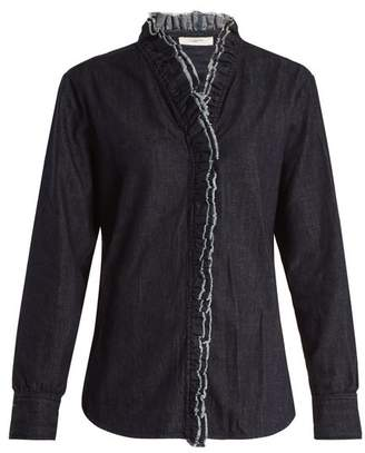 Etoile Isabel Marant Wendy Ruffle Trimmed Chambray Shirt - Womens - Dark Blue