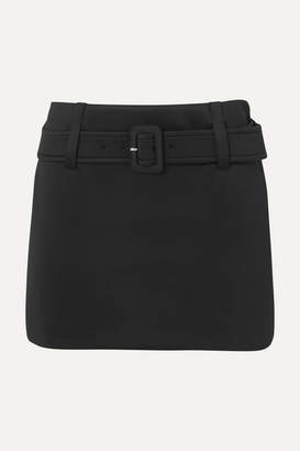 Prada Belted Tech-jersey Mini Skirt - Black