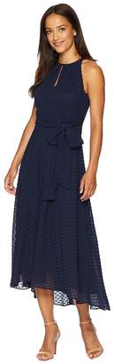 Tahari ASL Swiss Dot Midi Chiffon Dress Women's Dress