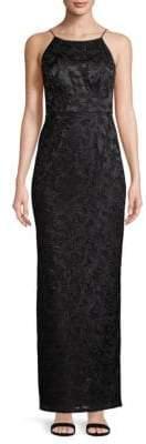 Aidan Mattox Embroidered Floor-Length Gown