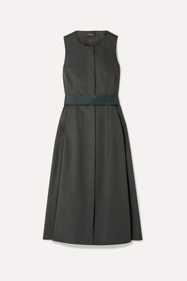 Akris Belted Cotton Midi Dress - Dark green