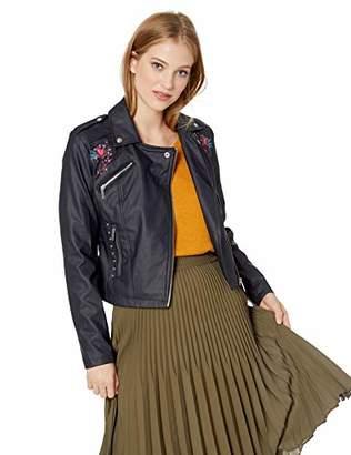 Yoki Women's Faux Leather Embroidered Moto Jacket