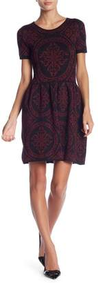 Romeo & Juliet Couture Short Sleeve Intarsia Knit Dress