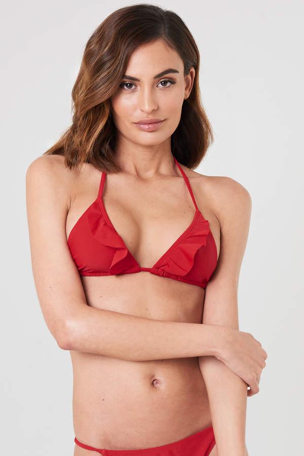 V neck Frill Bikini Top