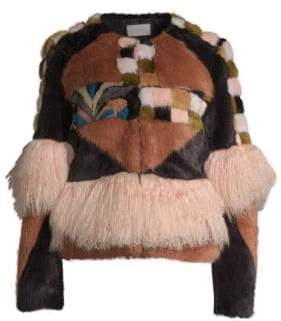 Alexis Kotto Multicolor Faux Fur Patchwork& Fringe Jacket