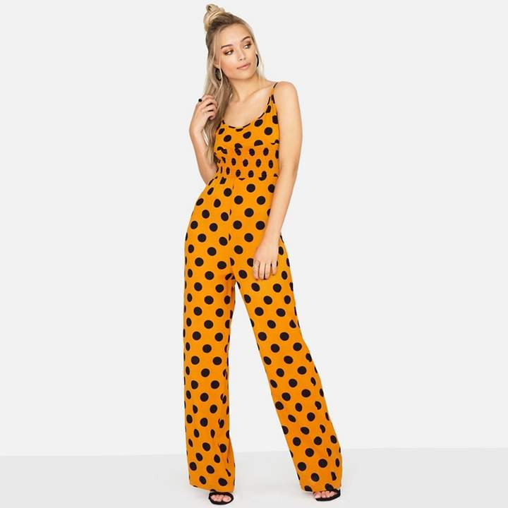 Orange Domino Jumpsuit In Polka Dot