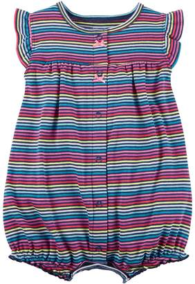 Carter's Baby Girl Heart Applique Back Striped Snap-Up Romper