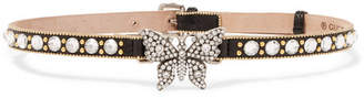 Gucci Leather, Gold-plated And Crystal Choker - Black