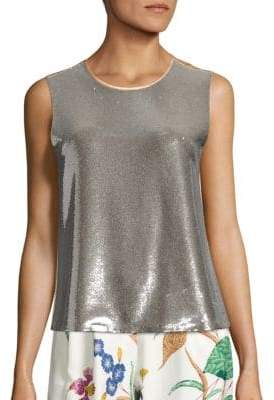 Diane von Furstenberg Metallic Sequin Shell