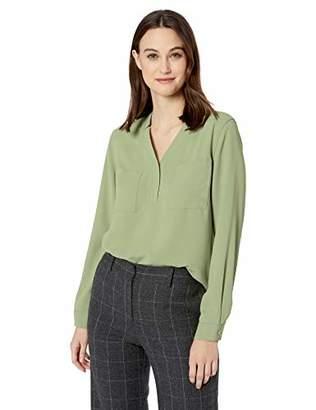 Nine West Women's Long Sleeve V-Neck Light Weight Crepe 2 Pocket Blouse
