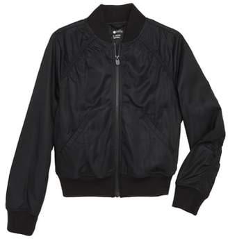 Zella Ruched Shoulder Shine Bomber Jacket
