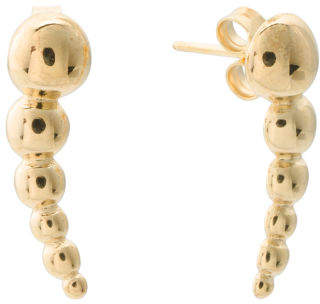 Made In Italy Sterling Silver Half Bead Ear Climber Earrings