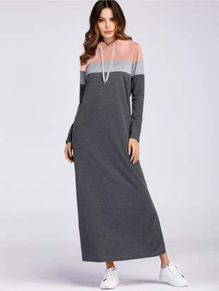 Shein Color-Block Slit Hoodie Sweatshirt Dress