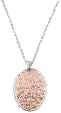 Made In Italy Two Tone Sterling Silver Hammered Necklace
