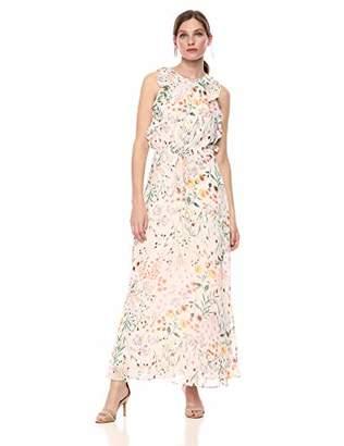 Calvin Klein Women's Sleeveless Maxi Dress with Self Tie and Ruffle Detail