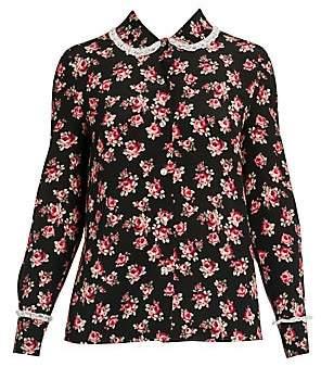 d913aabfc8b16e Miu Miu Women's Rose Silk Lace Blouse