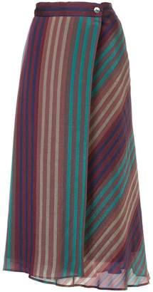 CITYSHOP (シティショップ) - Cityshop striped asymmetric long skirt