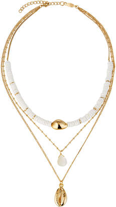 A.V. Max Layered 3-Row Shell Necklace