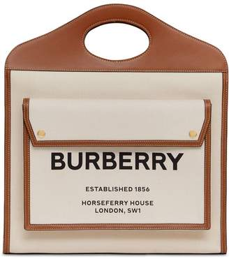 Burberry Small Logo Canvas & Leather Tote