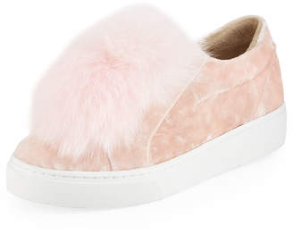 Here / Now Coco Genuine Fox Fur Trim Platfrom Sneaker