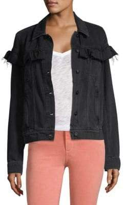 Paige Ruffle-Trim Denim Jacket