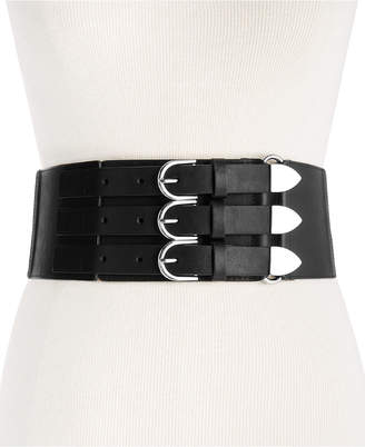 Steve Madden Wide Triple-Buckle Waist Belt