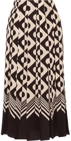 Gucci - Pleated Printed Silk Crepe De Chine Midi Skirt - Black