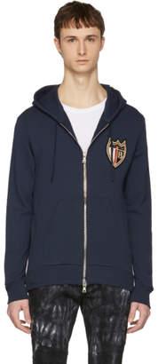Balmain Navy Badge Zip Hoodie