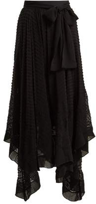 Zimmermann Unbridled Silk Georgette Handkerchief Hem Skirt - Womens - Black