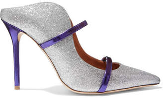 Malone Souliers by Roy Luwolt - Maureen Metallic-trimmed Glittered Leather Mules - Silver