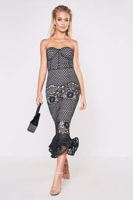boohoo Premium Lace Bandeau Fishtail Midi Dress