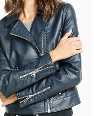 Express (Minus the) leather navy moto jacket $148 thestylecure.com