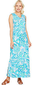 Denim & Co. Sleeveless V Neck Printed MaxiDress