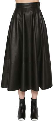 Loewe Flared Nappa Leather Midi Skirt