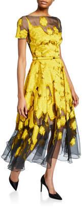 Oscar de la Renta Floral Fil Coupe Cocktail Dress