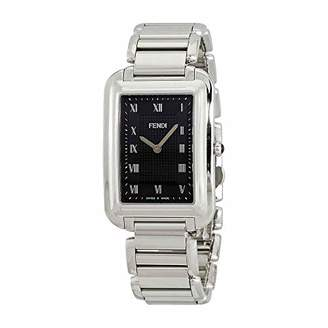 Fendi Classico Rectangular Swiss Made Classic Mens Thin Watch Stainless Steel Metal Band - Analog Quartz Black Face with Sapphire crystal Luxury Rectangle Dress Watches For Men F701011000